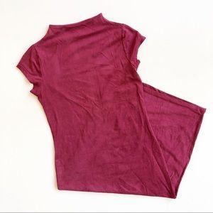 Black Bead Red Mock Neck BodyCon Cap Sleeve Dress